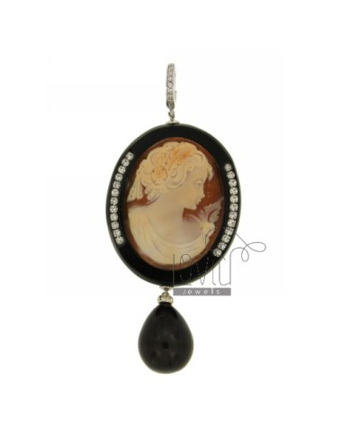 MM 36x30 CAMEO PENDANT ONYX AND RESIN WITH STRASS ELEMENTS IN RHODIUM AG 925 TIT AND ZIRCONIA
