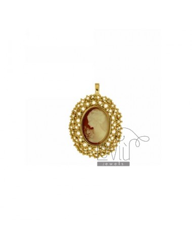 OVAL PENDANT WITH CAMEO IN GOLD PLATED AG TIT 925