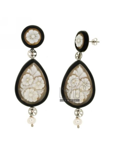 CAMEO DROP EARRINGS PEARL FLOWERS IN RESIN AND STEEL