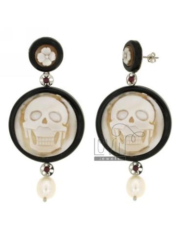 Ohrringe runden HARZ Schädel.Miniatur PEARL UND STAHL