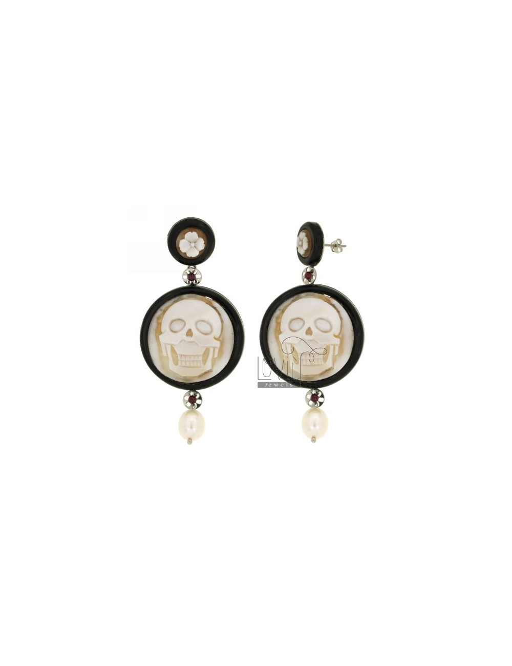 EARRINGS ROUND RESIN SKULL CAMEO PEARL AND STEEL