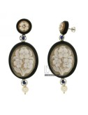 EARRINGS OVAL RESIN CAMEO FLOWERS IN PEARL AND STEEL