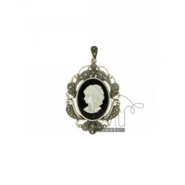 CAMEO PENDANT ONYX AND MOTHER OF PEARL WITH MARCASITE IN TIT AG 925