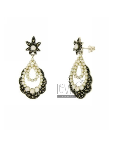 EARRINGS WITH MARCASITE AND PEARLS IN AG TIT 925 ‰