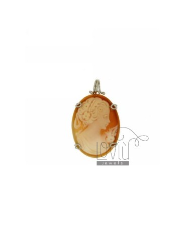 CAMEO PENDANT 29x23 MM FRAME WITH A CURL IN TIT AG 925