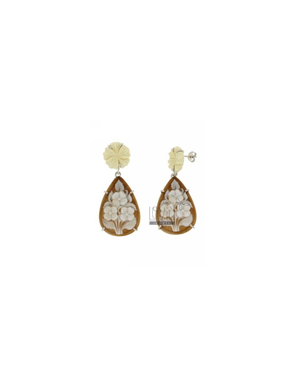FLOWERS IN CAMEO DROP EARRINGS RHODIUM AG TIT 925
