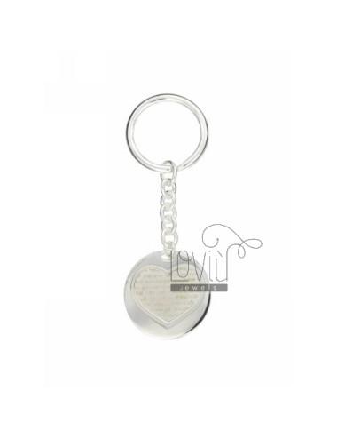 Round keychain with heart...