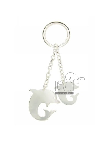 Key ring double dolphin in...