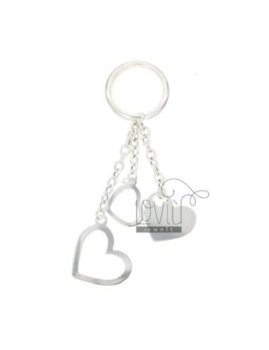 Triple heart key ring in...