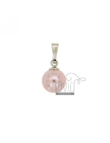 CIONDOLO PERLA ROSA MM 10 IN AG RODIATO TIT 925