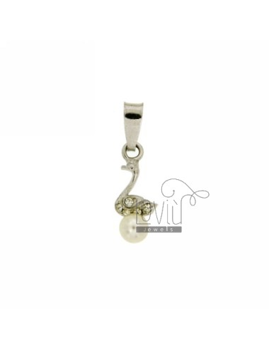 PENDANT PEARL SWAN 5 MM IN TIT AG 925 ‰ E STRASS