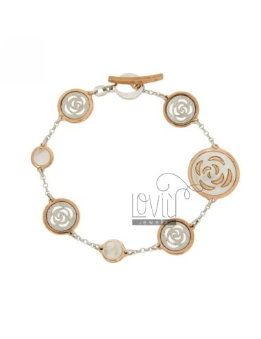 CABLE BRACELET WITH CENTRAL rhodium CM 18 MM ROUND 18 WITH ROSE PEARL ROSE GOLD PLATED IN AG TIT 925 ‰
