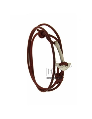 BORDEAUX LEATHER BRACELET WITH STILL AG BRUNITO TIT 925