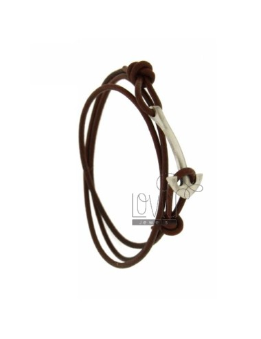 BRACELET IN BROWN LEATHER WITH STILL AG BRUNITO TIT 925