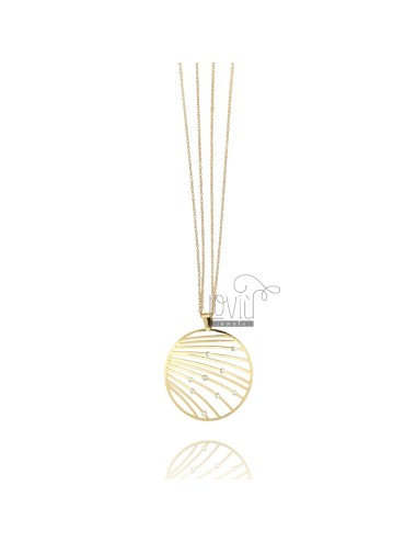 DOUBLE WIRE CABLE NECKLACE 80 CM WITH PERFORATED PLATE ROUND 45 MM WITH SWAROVSKI GOLD PLATED IN AG TIT 925 ‰