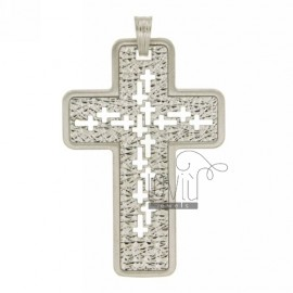 38X26 MM THROUGH CROSS PENDANT SILVER RHODIUM TIT 925