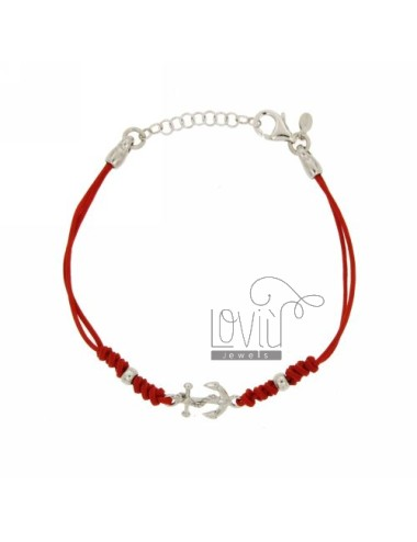 CORD BRACELET WITH RED CM 17.20 STILL IN 17X10 MM AG TIT 925 ‰
