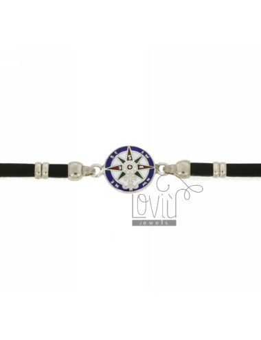 BRACELET IN BLACK LEATHER WITH ROSE OF THE WINDS IN RHODIUM TIT AG 925 AND ENAMEL CM 19.22