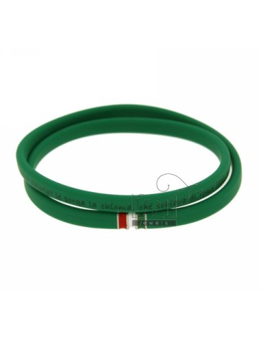 RUBBER BRACELET IN &39GREEN&39 HYMN OF ITALY &quotCLOSING WITH A FLAG IN RHODIUM AG TIT 925
