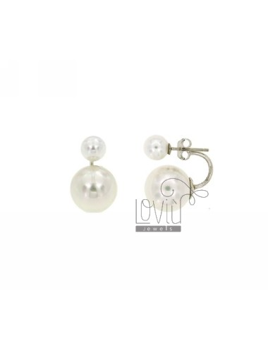MM PEARL EARRINGS DOUBLE IN 7.12 AG RHODIUM TIT 925
