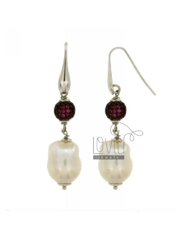 SCARAMAZZE EARRINGS WITH PEARLS AND BALL 10 MM WITH SWAROVSKI RED TIT 925