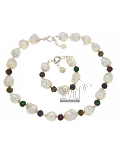 NECKLACE AND BRACELET CM 50.55 CM 19.22 SCARAMAZZE IN PEARLS AND BALLS WITH 10 MM PAVE &39IN VARIOUS COLORS OF ZIRCONIA AG TIT