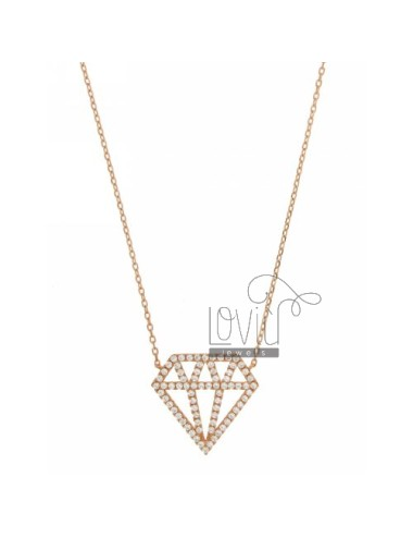 CABLE WITH DIAMOND NECKLACE AND ZIRCONIA 23X25 MM IN ROSE GOLD PLATED AG TIT 925 ‰ CM 40.45