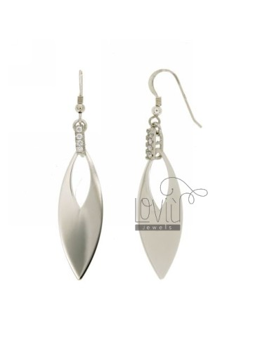 EARRINGS COP MM 60x12 RHODIUM WITH ZIRCONIA IN AG TIT 925 ‰