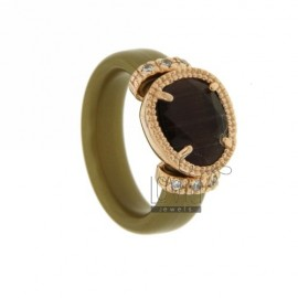 RING IN RUBBER &39GOLD WITH APPLICATIONS IN ROSE GOLD PLATED AG TIT 925, HYDROTHERMAL ZIRCONIA STONES AND VARIOUS COLORS