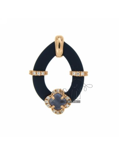 DROP PENDANT WITH RUBBER &39BLUE FLOWER WITH STONES AND APPLIC. HYDROTHERMAL AND ZIRCONIA SILVER ROSE GOLD PLATED TIT 925