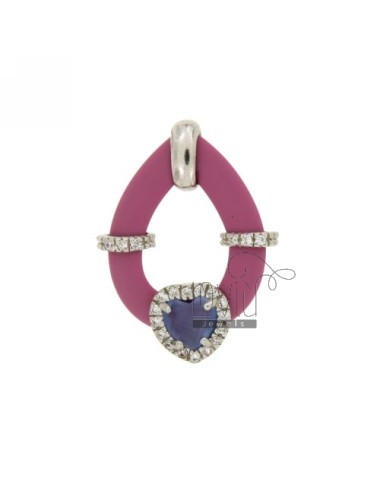 DROP PENDANT WITH RUBBER &39PINK HEART WITH STONES AND APPLIC. HYDROTHERMAL AND ZIRCONIA SILVER RHODIUM TIT 925