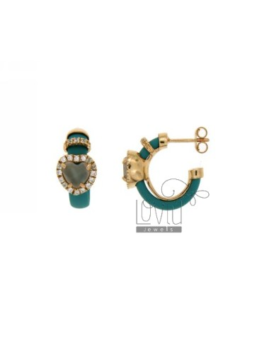 HOOP EARRINGS WITH RUBBER &39APPLIC. TURQUOISE AND HEART WITH STONES AND HYDROTHERMAL ZIRCONIA SILVER ROSE GOLD PL TIT 925