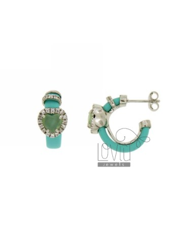 Circle earrings with green...