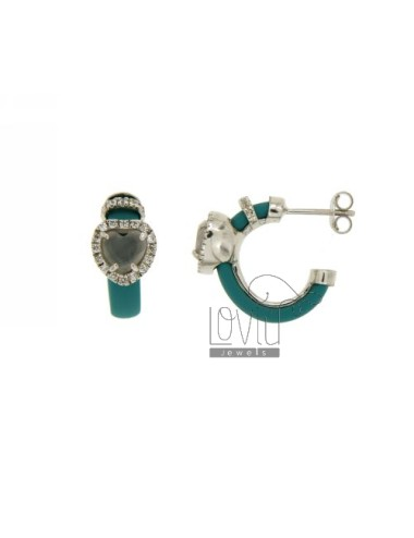 HOOP EARRINGS WITH RUBBER &39APPLIC. TURQUOISE AND HEART WITH STONES AND HYDROTHERMAL ZIRCONIA SILVER RHODIUM TIT 925