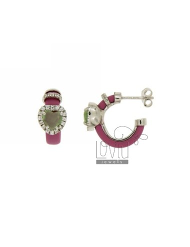 HOOP EARRINGS WITH RUBBER &39PINK HEART WITH STONES AND APPLIC. HYDROTHERMAL AND ZIRCONIA SILVER RHODIUM TIT 925