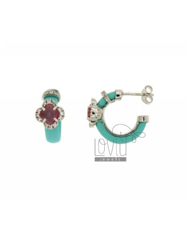 HOOP EARRINGS WITH RUBBER &39GREEN AND TIFFANY APPLIC. HYDROTHERMAL FLOWER WITH STONES AND ZIRCONIA SILVER RHODIUM TIT 925