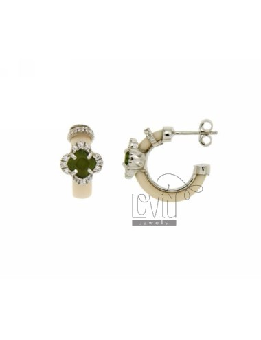 HOOP EARRINGS WITH RUBBER &39APPLIC. IVORY FLOWER WITH STONES AND HYDROTHERMAL ZIRCONIA SILVER RHODIUM TIT 925
