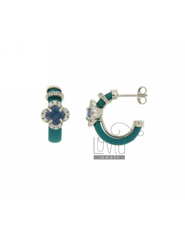 HOOP EARRINGS WITH RUBBER &39APPLIC. TURQUOISE AND FLOWER WITH STONES AND HYDROTHERMAL ZIRCONIA SILVER RHODIUM TIT 925
