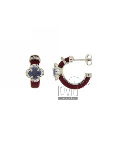 HOOP EARRINGS WITH RUBBER &39APPLIC. MARC AND FLOWER WITH STONES AND HYDROTHERMAL ZIRCONIA SILVER RHODIUM TIT 925