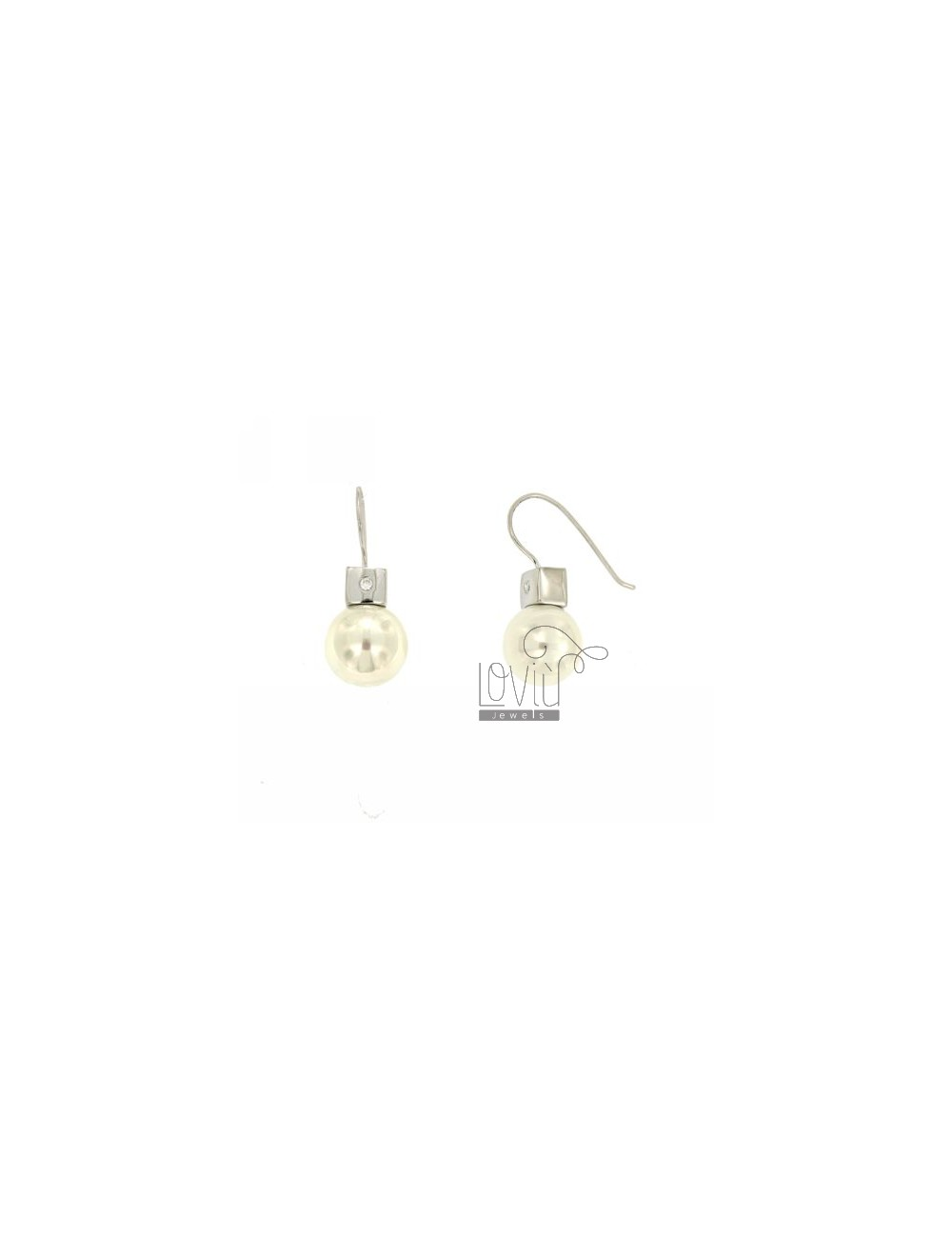 EARRINGS PEARL 12 MM SILVER TIT 925 ‰ AND ZIRCONIA