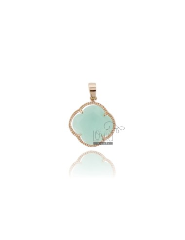 FLOWER PENDANT STONE HYDROTHERMAL COLOR GREEN TIFFANY ROSE GOLD PLATED 20 IN AG TIT 925