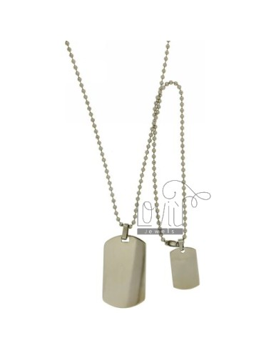 MILITARY MEDAL DOUBLE STEEL MM 40x24 24x15 CHAIN &8203&8203AND A BALL 2.5 MM 60 CM