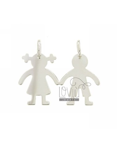 PENDANT BOY GIRL DIVIDED IN SILVER 925 ‰