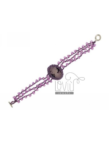 WIRE BRACELET STONES WITH CAMEO LILAC AND CLOSING IN METAL