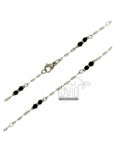 STEEL CHAIN &8203&8203WITH TWISTED ELEMENTS AND STONES faceted 3 MM STEEL 50 CM