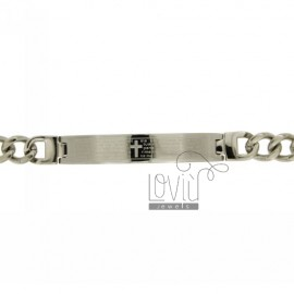 BRACELET STEEL PLATE WITH 8 MM WITH OUR FATHER AND CHAIN &8203&8203Curb