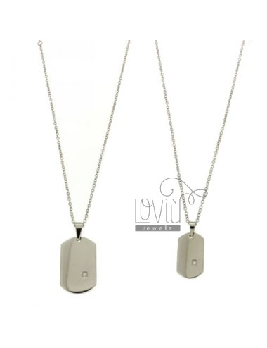 MILITARY AND DOUBLE MM 30X20 26x15 STEEL DOUBLE CHAIN &8203&8203CABLE WITH ZIRCON AND 50 CM