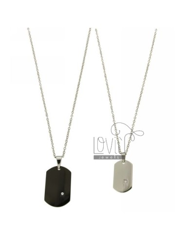 MM MILITARY 30X20 DOUBLE PLATED RUTENIO E 26x15 STEEL WITH ZIRCON AND DOUBLE CHAIN &8203&8203CABLE 50 CM