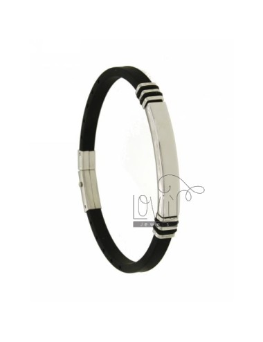 BRACELET STEEL AND RUBBER &39BLACK PLATE WITH 5 MM