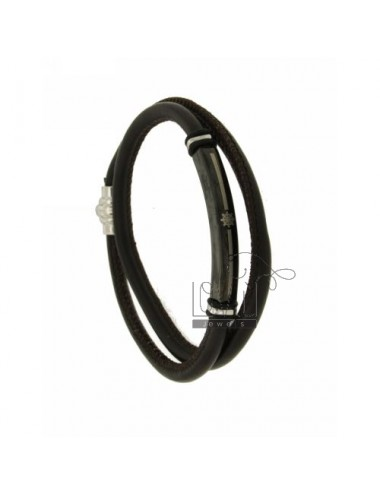 DARK BROWN LEATHER BRACELET 5 MM DOUBLE TOUR WITH PLATE STEEL PLATED WITH RUDDER RUTENIO
